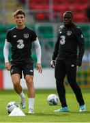 9 October 2019; Danny McNamara and Michael Obafemi during a Republic of Ireland U21's Training Session at Tallaght Stadium in Dublin. Photo by Harry Murphy/Sportsfile