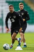 9 October 2019; Zack Elbouzedi and Connor Ronan during a Republic of Ireland U21's Training Session at Tallaght Stadium in Dublin. Photo by Harry Murphy/Sportsfile