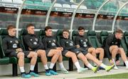 9 October 2019; Republic of Ireland players, from left, Connor Ronan,  Dara O'Shea, Danny McNamara, Jack Taylor, Simon Power and Nathan Collins during a Republic of Ireland U21's Training Session at Tallaght Stadium in Dublin. Photo by Harry Murphy/Sportsfile