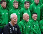 9 October 2019; Republic of Ireland manager Mick McCarthy, pictured, was on hand to wish the Irish Defence Forces team a bon voyage at Abbotstown as they prepare to travel to China for the World Military Games. McCarthy joined Minister of State for Defence Paul Kehoe, FAI President Donal Conway, Brigadier General Peter O'Halloran and boxing coach Phil Sutcliffe at FAI Headquarters. The Irish Defence Forces football team, backed by the FAI, knocked Germany and Holland out of the qualifiers en route to the tournament and will be joined in Wuhon city by boxers and a shooting team. Photo by Stephen McCarthy/Sportsfile
