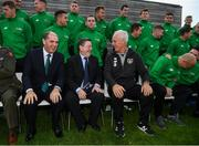 9 October 2019; Republic of Ireland manager Mick McCarthy was on hand to wish the Irish Defence Forces team a bon voyage at Abbotstown as they prepare to travel to China for the World Military Games. McCarthy joined Minister of State for Defence Paul Kehoe, FAI President Donal Conway, Brigadier General Peter O'Halloran and boxing coach Phil Sutcliffe at FAI Headquarters. The Irish Defence Forces football team, backed by the FAI, knocked Germany and Holland out of the qualifiers en route to the tournament and will be joined in Wuhon city by boxers and a shooting team. Pictured are, from left, Minister of State for Defence Paul Kehoe, FAI President Donal Conway and Republic of Ireland manager Mick McCarthy. Photo by Stephen McCarthy/Sportsfile
