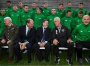 9 October 2019; Republic of Ireland manager Mick McCarthy was on hand to wish the Irish Defence Forces team a bon voyage at Abbotstown as they prepare to travel to China for the World Military Games. McCarthy joined Minister of State for Defence Paul Kehoe, FAI President Donal Conway, Brigadier General Peter O'Halloran and boxing coach Phil Sutcliffe at FAI Headquarters. The Irish Defence Forces football team, backed by the FAI, knocked Germany and Holland out of the qualifiers en route to the tournament and will be joined in Wuhon city by boxers and a shooting team. Pictured are, from left, Brigadier General Peter O'Halloran, Minister of State for Defence Paul Kehoe, FAI President Donal Conway and Republic of Ireland manager Mick McCarthy. Photo by Stephen McCarthy/Sportsfile