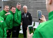 9 October 2019; Republic of Ireland manager Mick McCarthy was on hand to wish the Irish Defence Forces team a bon voyage at Abbotstown as they prepare to travel to China for the World Military Games. McCarthy joined Minister of State for Defence Paul Kehoe, FAI President Donal Conway, Brigadier General Peter O'Halloran and boxing coach Phil Sutcliffe at FAI Headquarters. The Irish Defence Forces football team, backed by the FAI, knocked Germany and Holland out of the qualifiers en route to the tournament and will be joined in Wuhon city by boxers and a shooting team. Pictured is Republic of Ireland manager Mick McCarthy with members of the Irish Defence Forces football team, from left, Tommy Naughton, Scott Delaney and Anthony Jinks. Photo by Stephen McCarthy/Sportsfile