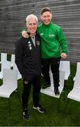 9 October 2019; Republic of Ireland manager Mick McCarthy was on hand to wish the Irish Defence Forces team a bon voyage at Abbotstown as they prepare to travel to China for the World Military Games. McCarthy joined Minister of State for Defence Paul Kehoe, FAI President Donal Conway, Brigadier General Peter O'Halloran and boxing coach Phil Sutcliffe at FAI Headquarters. The Irish Defence Forces football team, backed by the FAI, knocked Germany and Holland out of the qualifiers en route to the tournament and will be joined in Wuhon city by boxers and a shooting team. Pictured is Republic of Ireland manager Mick McCarthy with Del Walsh, a member of the Irish Defence Forces football team. Photo by Stephen McCarthy/Sportsfile