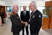 9 October 2019; Republic of Ireland manager Mick McCarthy was on hand to wish the Irish Defence Forces team a bon voyage at Abbotstown as they prepare to travel to China for the World Military Games. McCarthy joined Minister of State for Defence Paul Kehoe, FAI President Donal Conway, Brigadier General Peter O'Halloran and boxing coach Phil Sutcliffe at FAI Headquarters. The Irish Defence Forces football team, backed by the FAI, knocked Germany and Holland out of the qualifiers en route to the tournament and will be joined in Wuhon city by boxers and a shooting team. Pictured are, from left, Brigadier General Peter O'Halloran, Minister of State for Defence Paul Kehoe and Republic of Ireland manager Mick McCarthy. Photo by Stephen McCarthy/Sportsfile