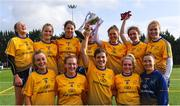 9 October 2019; DCU captain Anna Rose Kennedy and her team-mates after beating UL during the Senior final at the 2019 Gourmet Food Parlour HEC Freshers Blitz at University of Limerick, Limerick. Photo by Piaras Ó Mídheach/Sportsfile