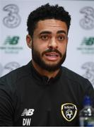 9 October 2019; Derrick Williams during a Republic of Ireland press conference at the FAI National Training Centre in Abbotstown, Dublin. Photo by Stephen McCarthy/Sportsfile