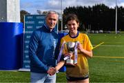9 October 2019; Chairperson of HEC Donal Barry presents DCU captain Anna Rose Kennedy with the cup beating UL during the Senior final at the 2019 Gourmet Food Parlour HEC Freshers Blitz at University of Limerick, Limerick. Photo by Piaras Ó Mídheach/Sportsfile