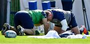 10 October 2019; Tadhg Furlong with scrum coach Greg Feek during Ireland Rugby squad training at Shirouzuoike Park in Fukuoka, Japan. Photo by Brendan Moran/Sportsfile