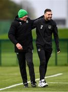 10 October 2019; Shane Duffy and goalkeeping coach Alan Kelly during a Republic of Ireland training session at the FAI National Training Centre in Abbotstown, Dublin. Photo by Stephen McCarthy/Sportsfile