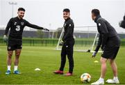 10 October 2019; Sean Maguire, left, Aaron Connolly and Republic of Ireland assistant coach Robbie Keane, right, during a Republic of Ireland training session at the FAI National Training Centre in Abbotstown, Dublin. Photo by Stephen McCarthy/Sportsfile