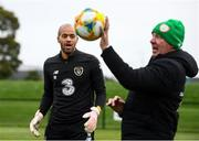 10 October 2019; Darren Randolph and Republic of Ireland goalkeeping coach Alan Kelly during a Republic of Ireland training session at the FAI National Training Centre in Abbotstown, Dublin. Photo by Stephen McCarthy/Sportsfile