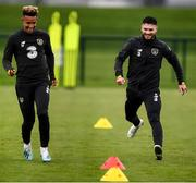 10 October 2019; Scott Hogan, right, and Callum Robinson during a Republic of Ireland training session at the FAI National Training Centre in Abbotstown, Dublin. Photo by Stephen McCarthy/Sportsfile
