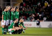8 October 2019; Republic of Ireland team prior to the UEFA Women's 2021 European Championships qualifier match between Republic of Ireland and Ukraine at Tallaght Stadium in Dublin. Photo by Eóin Noonan/Sportsfile