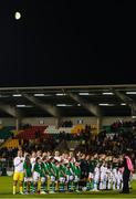8 October 2019; Both teams line up for the playing of the National Anthems ahead of the UEFA Women's 2021 European Championships qualifier match between Republic of Ireland and Ukraine at Tallaght Stadium in Dublin. Photo by Eóin Noonan/Sportsfile