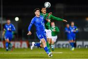 10 October 2019; Alessandro Bastoni of Italy in action against Adam Idah of Republic of Ireland during the UEFA European U21 Championship Qualifier Group 1 match between Republic of Ireland and Italy at Tallaght Stadium in Tallaght, Dublin. Photo by Sam Barnes/Sportsfile