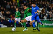 10 October 2019; Adam Idah of Republic of Ireland in action against Riccardo Marchizza of Italy during the UEFA European U21 Championship Qualifier Group 1 match between Republic of Ireland and Italy at Tallaght Stadium in Tallaght, Dublin. Photo by Sam Barnes/Sportsfile