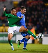 10 October 2019; Adam Idah of Republic of Ireland in action against Riccardo Marchizza of Italy during the UEFA European U21 Championship Qualifier Group 1 match between Republic of Ireland and Italy at Tallaght Stadium in Tallaght, Dublin. Photo by Eóin Noonan/Sportsfile