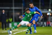 10 October 2019; Jayson Molumby of Republic of Ireland in action against Gianluca Scamacca of Italy during the UEFA European U21 Championship Qualifier Group 1 match between Republic of Ireland and Italy at Tallaght Stadium in Tallaght, Dublin. Photo by Eóin Noonan/Sportsfile