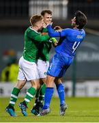 10 October 2019; Connor Ronan, left, and Jayson Molumby of Republic of Ireland during a coming together with Sandro Tonali of Italy during the UEFA European U21 Championship Qualifier Group 1 match between Republic of Ireland and Italy at Tallaght Stadium in Tallaght, Dublin. Photo by Eóin Noonan/Sportsfile