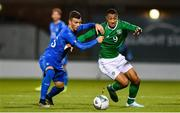 10 October 2019; Adam Idah of Republic of Ireland in action against Enrico Del Prato of Italy during the UEFA European U21 Championship Qualifier Group 1 match between Republic of Ireland and Italy at Tallaght Stadium in Tallaght, Dublin. Photo by Sam Barnes/Sportsfile