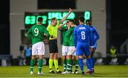 10 October 2019; Moise Kean of Italy being shown a red card by referee Sascha Stegemann during the UEFA European U21 Championship Qualifier Group 1 match between Republic of Ireland and Italy at Tallaght Stadium in Tallaght, Dublin. Photo by Eóin Noonan/Sportsfile