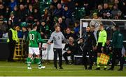 10 October 2019; Troy Parrott of Republic of Ireland leaves the field after receiving a second yellow, and subsequent red card during the UEFA European U21 Championship Qualifier Group 1 match between Republic of Ireland and Italy at Tallaght Stadium in Tallaght, Dublin. Photo by Sam Barnes/Sportsfile