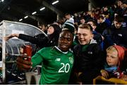 10 October 2019; Michael Obafemi of Republic of Ireland poses for a selfie with supporters following the UEFA European U21 Championship Qualifier Group 1 match between Republic of Ireland and Italy at Tallaght Stadium in Tallaght, Dublin. Photo by Eóin Noonan/Sportsfile