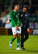 10 October 2019; Adam Idah of Republic of Ireland with Republic of Ireland U21's assistant coach Keith Andrews during the UEFA European U21 Championship Qualifier Group 1 match between Republic of Ireland and Italy at Tallaght Stadium in Tallaght, Dublin. Photo by Sam Barnes/Sportsfile