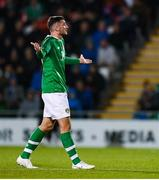 10 October 2019; Troy Parrott of Republic of Ireland after being shown a red card by referee Sascha Stegemann during the UEFA European U21 Championship Qualifier Group 1 match between Republic of Ireland and Italy at Tallaght Stadium in Tallaght, Dublin. Photo by Eóin Noonan/Sportsfile