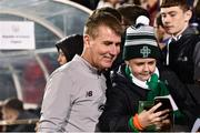 10 October 2019; Republic of Ireland U21 head coach Stephen Kenny takes a selfie with a supporter following the UEFA European U21 Championship Qualifier Group 1 match between Republic of Ireland and Italy at Tallaght Stadium in Tallaght, Dublin. Photo by Sam Barnes/Sportsfile