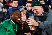 10 October 2019; Michael Obafemi of Republic of Ireland takes a selfie with a supporter following the UEFA European U21 Championship Qualifier Group 1 match between Republic of Ireland and Italy at Tallaght Stadium in Tallaght, Dublin. Photo by Sam Barnes/Sportsfile