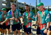 11 October 2019; Ireland players, from left, Chris Farrell, Rob Kearney and Garry Ringrose wearing a happi, a traditional Japanese straight-sleeved coat which are usually worn during festivals, after being presented with them during a visit by the squad to Kasuga Elementary School in Kusaga, Fukuoka, Japan. Photo by Brendan Moran/Sportsfile