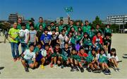 11 October 2019; Ireland players, including Rhys Ruddock, Garry Ringrose, Chris Farrell, Sean Cronin, Rob Kearney, John Ryan, Jack Carty and Jordi Murphy, with students during a visit by the Ireland rugby squad to Kasuga Elementary School in Kusaga, Fukuoka, Japan. Photo by Brendan Moran/Sportsfile