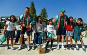 11 October 2019; Rob Kearney, left, and Garry Ringrose sing 'Ireland's Call' with students during a visit by the Ireland rugby squad to Kasuga Elementary School in Kusaga, Fukuoka, Japan. Photo by Brendan Moran/Sportsfile