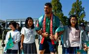 11 October 2019; Rob Kearney sings 'Ireland's Call' with students during a visit by the Ireland rugby squad to Kasuga Elementary School in Kusaga, Fukuoka, Japan. Photo by Brendan Moran/Sportsfile