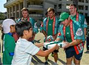 11 October 2019; Sean Cronin is presented with a gift by a student during a visit by the Ireland rugby squad to Kasuga Elementary School in Kusaga, Fukuoka, Japan. Photo by Brendan Moran/Sportsfile