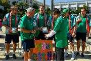 11 October 2019; Team manager Paul Dean makes a presentation to Kasuga Mayor Sumikazu Inoue during a visit by the Ireland rugby squad to Kasuga Elementary School in Kusaga, Fukuoka, Japan. Photo by Brendan Moran/Sportsfile