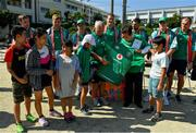 11 October 2019; Team manager Paul Dean makes a presentation of a signed Irish jersey to Kasuga Mayor Sumikazu Inoue during a visit by the Ireland rugby squad to Kasuga Elementary School in Kusaga, Fukuoka, Japan. Photo by Brendan Moran/Sportsfile