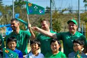 11 October 2019; Rob Kearney, left, Jack Carty and Sean Cronin with students during a visit by the Ireland rugby squad to Kasuga Elementary School in Kusaga, Fukuoka, Japan. Photo by Brendan Moran/Sportsfile