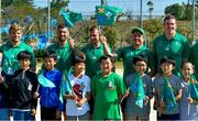 11 October 2019; Ireland players, from left, Jordi Murphy, Rob Kearney, Jack Carty, Sean Cronin and Chris Farrell with students during a visit by the Ireland rugby squad to Kasuga Elementary School in Kusaga, Fukuoka, Japan. Photo by Brendan Moran/Sportsfile