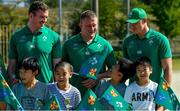 11 October 2019; Chris Farrell, left, John Ryan and Garry Ringrose with students during a visit by the Ireland rugby squad to Kasuga Elementary School in Kusaga, Fukuoka, Japan. Photo by Brendan Moran/Sportsfile