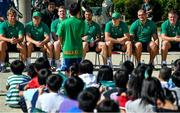 11 October 2019; A student asks a question of Ireland players, from left, Jordi Murphy, Sean Cronin, Chris Farrell, Rob Kearney, Garry Ringrose, Rhys Ruddock and John Ryan during a visit by the Ireland rugby squad to Kasuga Elementary School in Kusaga, Fukuoka, Japan. Photo by Brendan Moran/Sportsfile