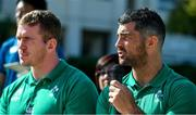 11 October 2019; Rob Kearney answers questions posed by students during a visit by the Ireland rugby squad to Kasuga Elementary School in Kusaga, Fukuoka, Japan. Photo by Brendan Moran/Sportsfile