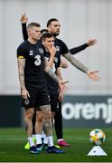 11 October 2019; James McClean, Josh Cullen and Shane Duffy during a Republic of Ireland training session at the Boris Paichadze Erovnuli Stadium in Tbilisi, Georgia. Photo by Seb Daly/Sportsfile