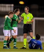 10 October 2019; Jayson Molumby, right, and Connor Ronan of Republic of Ireland protest to refree Sascha Stegemann during the UEFA European U21 Championship Qualifier Group 1 match between Republic of Ireland and Italy at Tallaght Stadium in Tallaght, Dublin. Photo by Eóin Noonan/Sportsfile