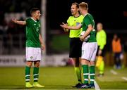 10 October 2019; Conor Coventry, left, and Lee O'Connor of Republic of Ireland protest to refree Sascha Stegemann during the UEFA European U21 Championship Qualifier Group 1 match between Republic of Ireland and Italy at Tallaght Stadium in Tallaght, Dublin. Photo by Eóin Noonan/Sportsfile