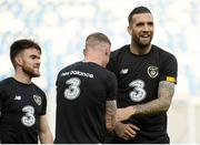 11 October 2019; Shane Duffy with James McClean and Aaron Connolly, left, during a Republic of Ireland training session at the Boris Paichadze Erovnuli Stadium in Tbilisi, Georgia. Photo by Stephen McCarthy/Sportsfile