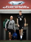 11 October 2019; James McClean and team physiotherapist Tony McCarthy, left, during a Republic of Ireland training session at the Boris Paichadze Erovnuli Stadium in Tbilisi, Georgia. Photo by Stephen McCarthy/Sportsfile