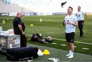 11 October 2019; Republic of Ireland assistant coach Robbie Keane shares a joke with kitman Dick Redmond during a Republic of Ireland training session at the Boris Paichadze Erovnuli Stadium in Tbilisi, Georgia. Photo by Stephen McCarthy/Sportsfile